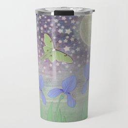 luna moths around the moon with starlit irises Travel Mug