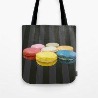 macaroon Tote Bags featuring geometric macaroon sweet by artsimo