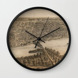 Vintage Pictorial Map of Peoria Illinois (1867) Wall Clock