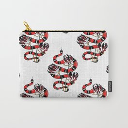 Beautiful Art Tattoo Snake with Flowers Carry-All Pouch