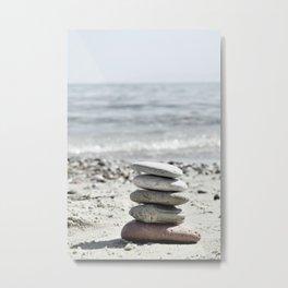 Balancing Stones On The Beach Metal Print