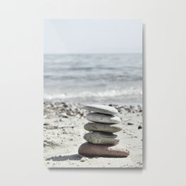 Balancing Stones On The Beach Metal Print