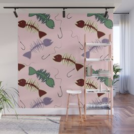Fish skeletons and hooks Wall Mural