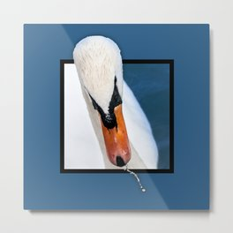 Swan with 3D pop out of frame effect Metal Print