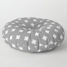 White Swiss Cross Pattern on Light Grey background Floor Pillow