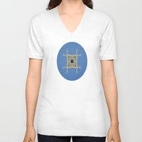 salvador dali V-neck T-shirts featuring Salvador Dali Tribute  by Louisa Catharine Art And Patterns