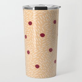 Polka dots and dashes // peach and burgundy Travel Mug