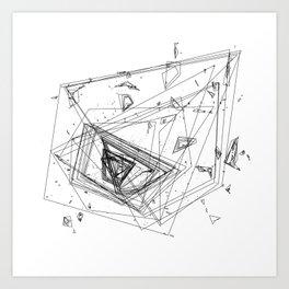 Mountain Vertices, Mt. Rainier, Black Geometric Art Print