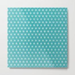 Flower of Life Pattern: Teal Metal Print