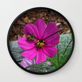 Coreopsis Flower with Bee Wall Clock