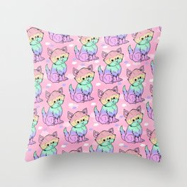 Rainbow Cats Throw Pillow