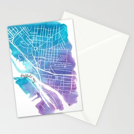 Buffalo, NY City Grid Stationery Cards