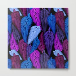 Watercolor Macrame Feather Toss in Black + Indigo Metal Print