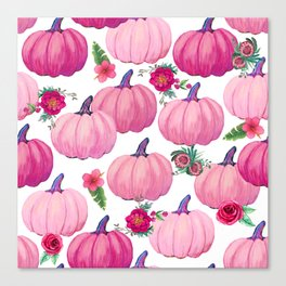 pink pumpkin fall watercolor, Thanksgiving Canvas Print