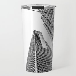 pyramid building and modern building in black and white at San Francisco, USA Travel Mug