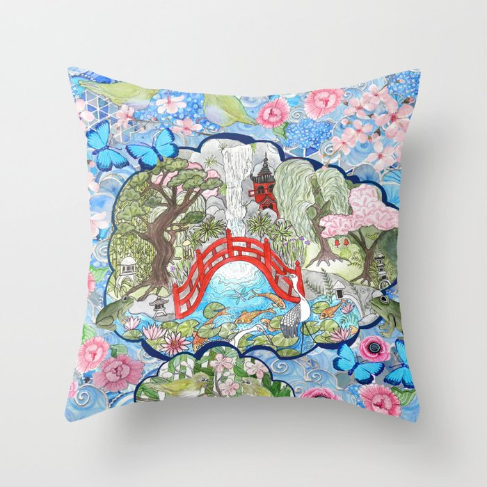Japanese  Garden watercolor biophile paradise Throw Pillow