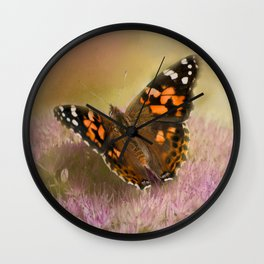 Painted Lady on Sedum Photography/Art Wall Clock