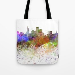 Providence skyline in watercolor background Tote Bag