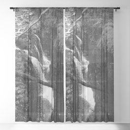 Tranquil Forest Waterfalls Sheer Curtain