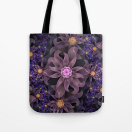 UltraViolet Glass Garden of Midnight DahliaFlowers Tote Bag