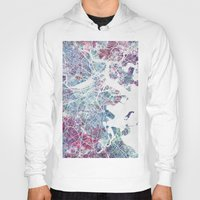 boston Hoodies featuring Boston map by MapMapMaps.Watercolors