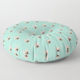 Fawn Frenchie Black Mask French Bulldog Print Pattern on Mint Green Background Floor Pillow