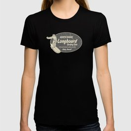 Club Surfing Longboard Logo and Hibiscus Hawaiian Print  T-shirt