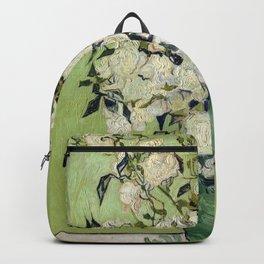 Vase of Roses by Vincent Van Gogh Backpack