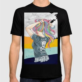Hand drawn girl unicorn with rock and roll t-shirt style and hair in rainbow colors T-shirt