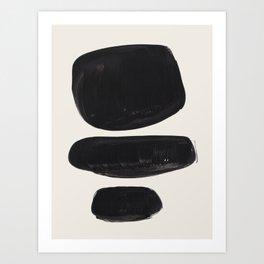 Mid Century Modern Minimalist Abstract Art Brush Strokes Black & White Ink Art Tribal Pebbles Art Print