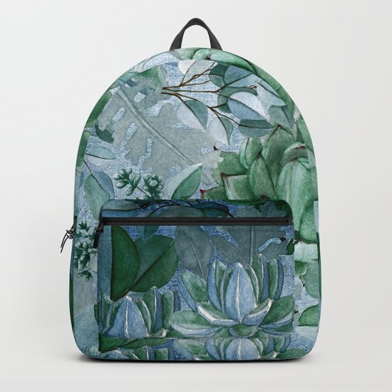 Painterly blue teal cactus pattern Backpack
