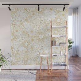 Elegant golden floral doodles design Wall Mural