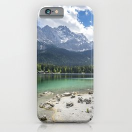 Eibsee lake in Germany in front of the mountain Zugspitze during daytime iPhone Case