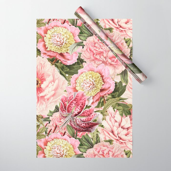Vintage & Shabby Chic Floral Peony & Lily Flowers Watercolor Pattern Wrapping Paper