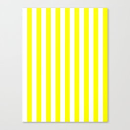 Narrow Vertical Stripes - White and Yellow Canvas Print