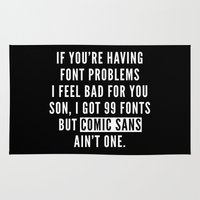 font Area & Throw Rugs featuring Font Problems Funny Quote by EnvyArt