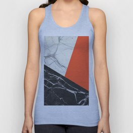 Black and White Marble with Pantone Flame Color Unisex Tank Top