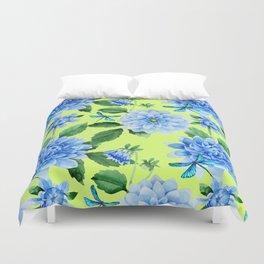 Modern blue lime punch watercolor dahlia floral pattern Duvet Cover