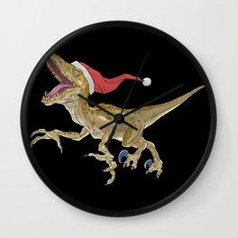 Christmas Velociraptor Wall Clock