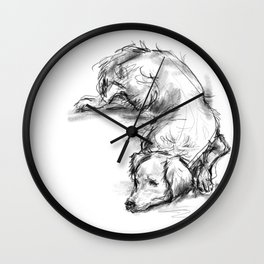 Lazy Golden Retriever Wall Clock