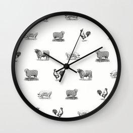 Farm Animals Black & White Wall Clock