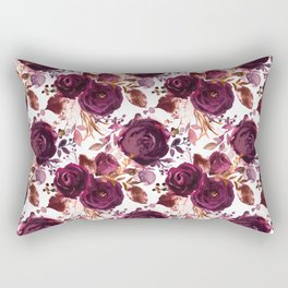 Burgundy pink white watercolor hand painted floral Rectangular Pillow
