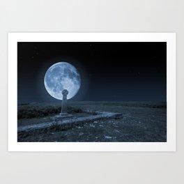 Celtic Cross and Moon Art Print