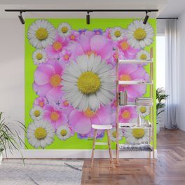 Chartreuse Green Color Shasta Daisies & Rose Pattern Wall Mural