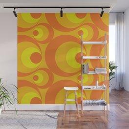 Crazy Orange Circles Wall Mural
