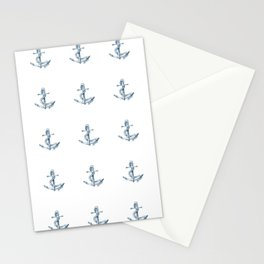 Nautical Seafarer Anchor Retro Seamless Pattern Stationery Cards