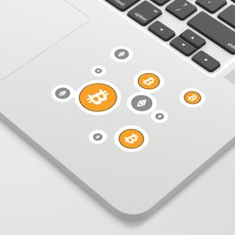 Ethereum and Bitcoin Pattern Sticker