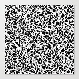 Terrazzo Spot 2 Black on White Canvas Print