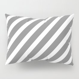 Grey Diagonal Stripes Pillow Sham