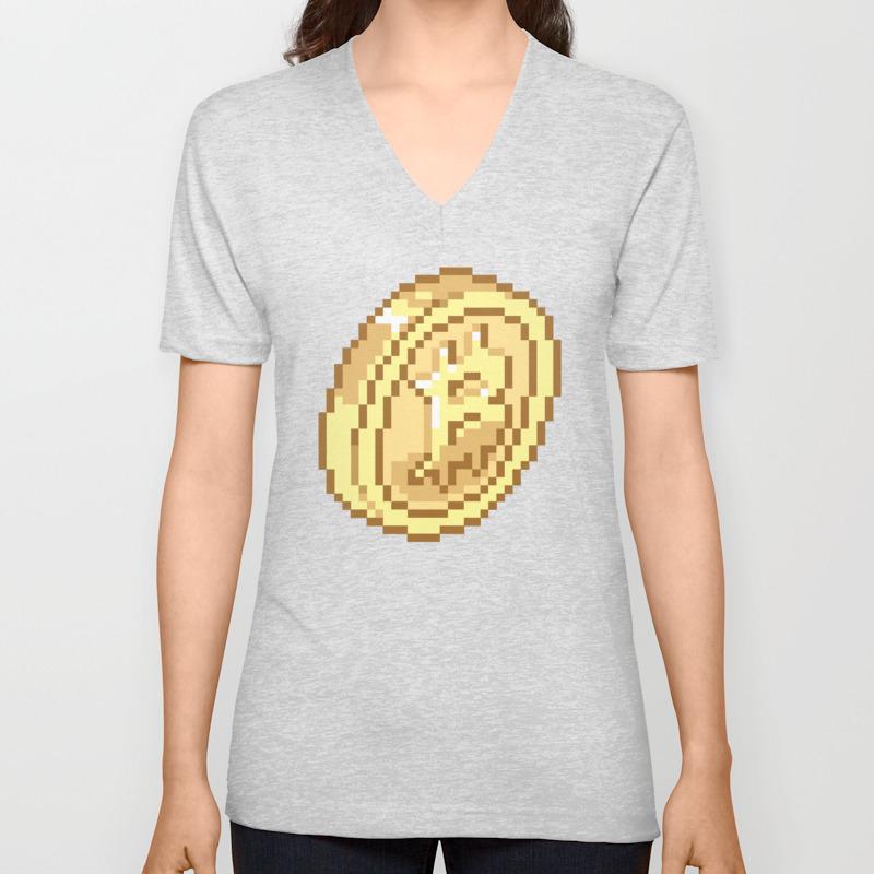 Bitcoin Pixel Art Unisex V Neck By Bankaire